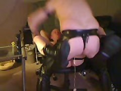 Hot Leather Fuck In Office Chair