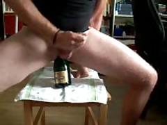 Champagne Bottle In My Ass - Much Precum!