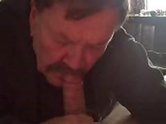 Older  Bear Sucking My Uncut Dick
