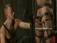 Gay Hunk Model In Leather Enjoys Bondage