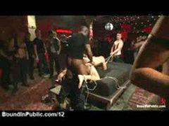 Baldheaded Gay Gangbanged And Flogged In Night Club