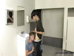 Twink Is Caught Looking At Cock In School Bathroom